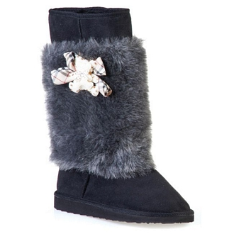 Women's Boots with removable furry spat and teddy-bear detail
