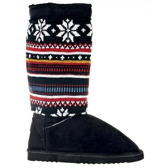 Women's boots with removable knitted spat