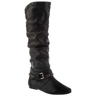 Women's knee-high boots with chain detail
