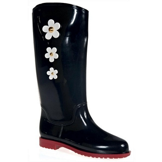 Women's rainboots with 3 decorative side flowers