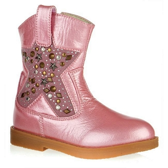 Children's short boots with a decorative studded star in the side