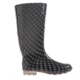 Womens knee-high polka dot rain boots with a stocking-like effect and transparent tractor sole