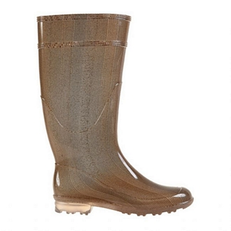 Womens knee-high rain boots with a stocking-like effect and transparent tractor sole