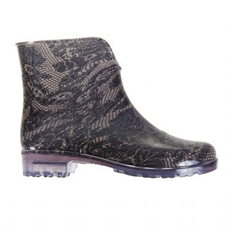 Womens ankle rain boots, with knitted-lace effect and transparent tractor sole