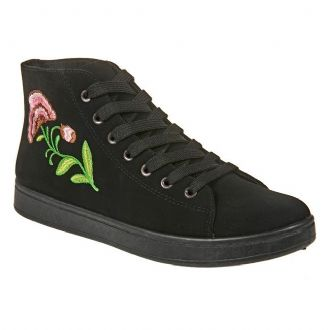 Women's ankle-high embroidered sneakers