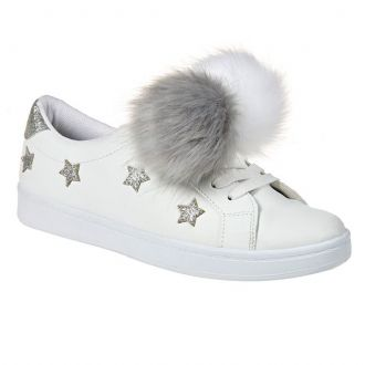 Women's sneakers with decorative pompoms