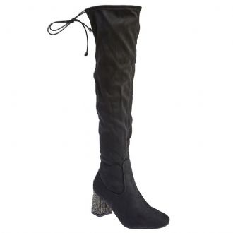 Women's sock boots with strasses on the heels