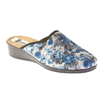 e0c8c4d0f64d Italian slippers with blue printed flowers - Mitsuko