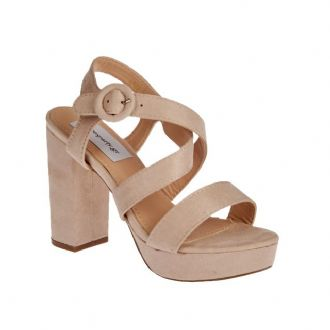 Women's sandals with criss-cross stripes and thick heels